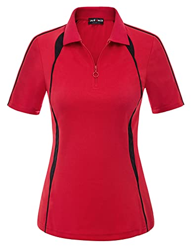 JACK SMITH Women's Short Sleeve Golf Polo Shirts Moisture Wicking 1/4 Zip Lapel Collar Tennis Polo Shirts Tops Large Red