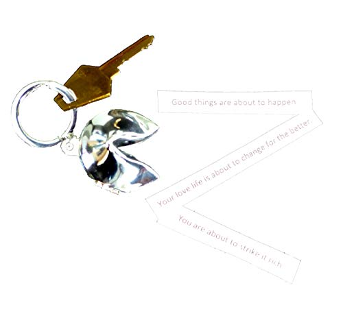Bey-Berk BB169S Silver Plated Fortune Cookie Box Key Ring. Grey