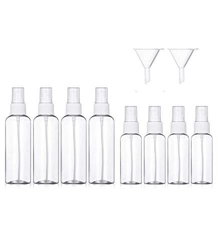 Juego de 4 botellas de 100 ml de 50 ml + 4 botellas de spray de 100 ml, de plástico transparente vacías y de niebla fina, pequeños recipientes de líquido recargables con 2...