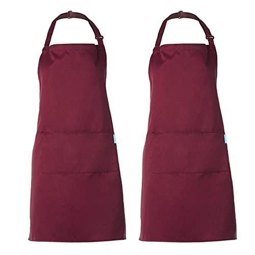 esonmus Grembiule Regolabile da 2 Pezzi con 2 Tasche Grembiuli da Cucina per Cuoco, per Uomo e Donna (Vino Rosso)