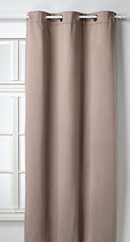 Soleil d'Ocre 035014 Rideau Isolant/Occultant à Oeillets Polyester Taupe 140x180 cm