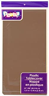 PACK OF 4: Disposable DARK BROWN / CHOCOLATE Plastic Tablecloths / Table Covers, 54 x 108 inches each