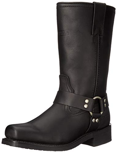 Men's Black Motorcycle Boots for Terminator Costume. Sizes from 7 to 14 Wide.