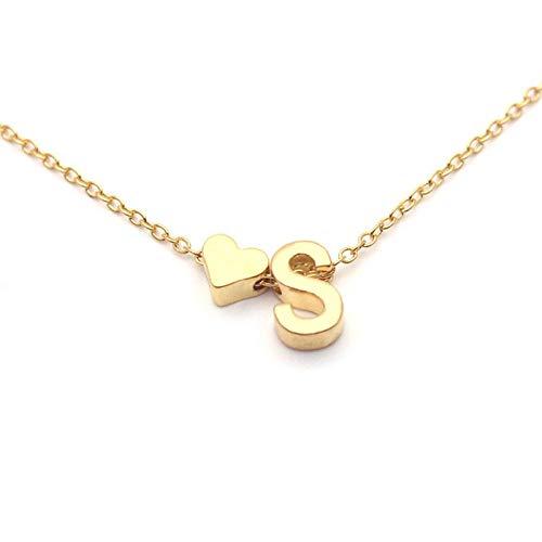 DYTE Moda Collar de moda para mujer, letras inglesas de oro, aleación, cadena de corazón, collar corto, colgante, joyería