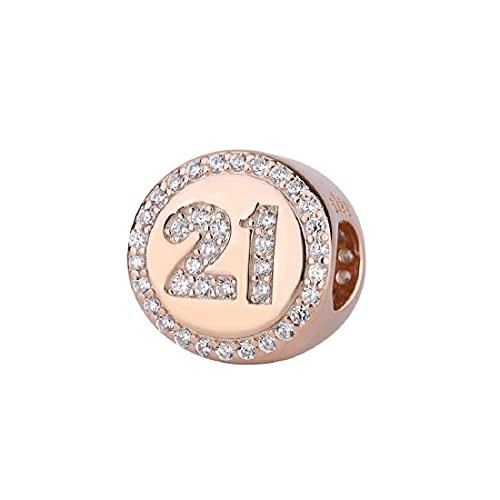 FeatherWish Abalorio redondo de plata de ley 925 con circonita cúbica transparente y rosa, compatible con pulseras o collares Pandora 16, 18, 21, 30, 40, Cristal, Cubic Zirconia,