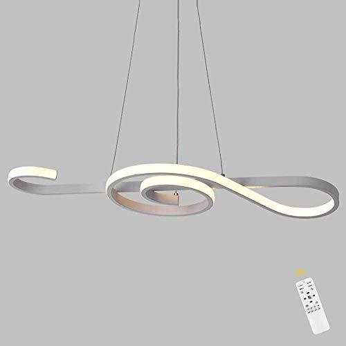 Aplique de metal Lámpara colgante de techo LED regulable, luz colgante ajustable con control remoto, araña de Morden para sala de estar de comedor, diseño de nota musical, negro Durable y ahorra energ