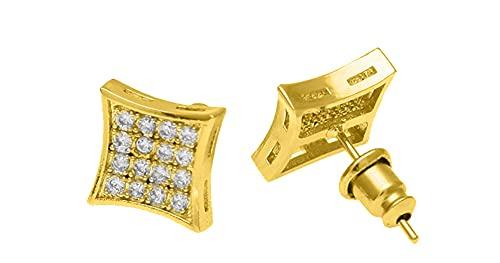 Hip-hop Rock - Pendientes de tuerca de cobre con microincrustaciones de circonio para hombre, estilo simple de moda para hombres y mujeres, dorado, Taille unique