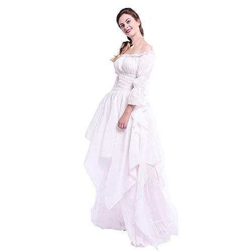 Huacat Mittelalterkleid Dame Vintage mehrschichtige eleganten Stil Volltonfarbe Trompete Ärmel Prinzessin Kleid Renaissance Kostüm