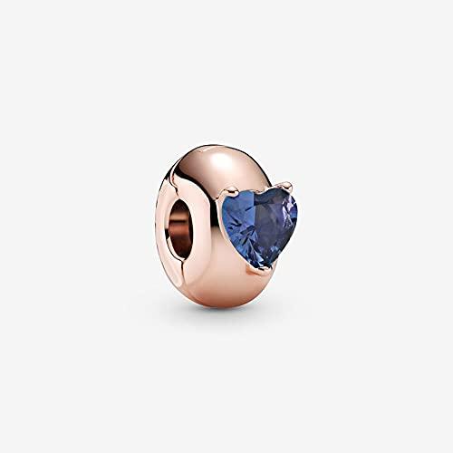 Perlas de plata de ley 4 colores corazón redondo titular de la tarjeta adecuado para pulsera Pandora original joyería de las mujeres DIY (color: 939 bl)