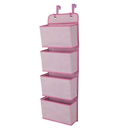 ZHFEL Colgante Puerta Organizador,con 4 Bolsillos Fuerte Gancho Multifuncional Ahorrar Espacio Plegable Dormitorio Almacenamiento para Zapatos Ropa Accesorios-Rosado
