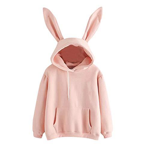 Sudadera con capucha para mujer, estilo casual, boquilla de gato, manga larga, orejas de conejo