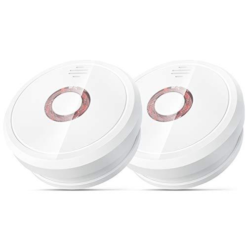 Detector de Humo, Isafenest Alarma de Humo con Sensor Fotoeléctrico Independiente Voz de 85 dB, con 5 Años de Duración de Batería (2-Pack)