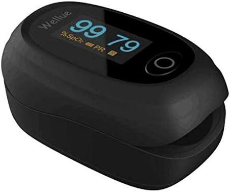 Wellue Oxímetro de Pulso, Pulsioxímetro de Dedo Oxímetro, Nivel de Oxígeno Portátil SpO2 PR Monitor de Ritmo Cardíaco, Pulsómetro Digital con Pantalla LED, Pilas Incluidas, para Adultos Niños, Negro