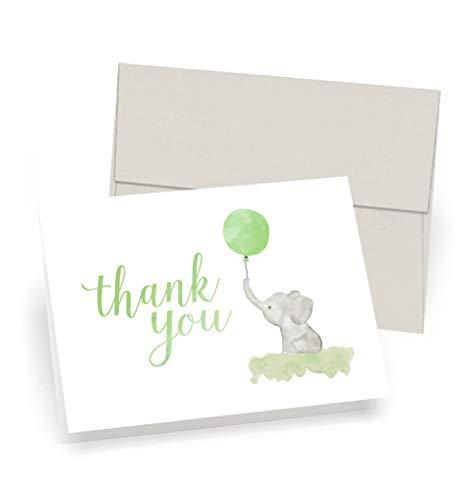 Beautiful Baby Dusche Thank You Karten (Set von 10Karten + Umschläge)–Watercolor Elefant & Grün Ballon–von Palmer Street Press