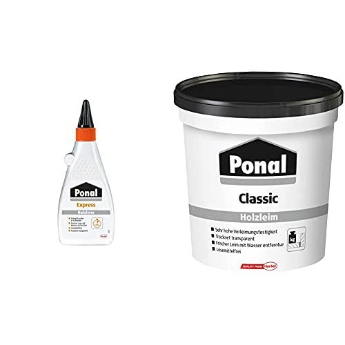 Ponal Express Holzleim, transparent und schnell trocknender Holzkleber für vielseitige Verleimungs- & Bastelarbeiten, wasserfester Leim in praktischer Flasche, 1x550g & PN12N Classic Holzleim, 760 g