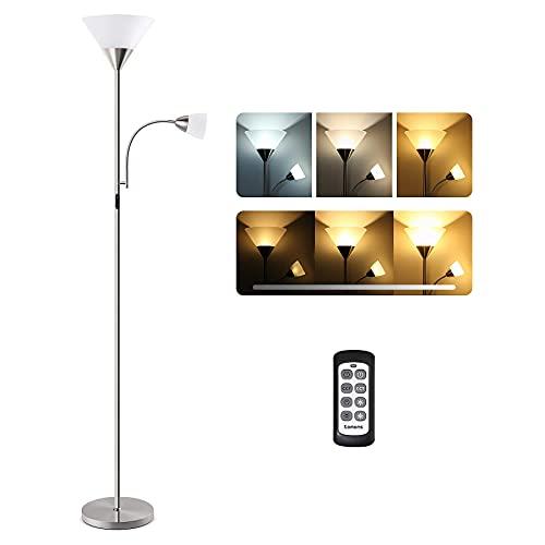 Tomons LED Lámpara de pie Regulable, Lámpara de Suelo con Doble Luz con Control Remoto, Se puede Controlar por Separado, 3 Grados de Temperatura de Color y Ajuste de Brillo sin Escalas