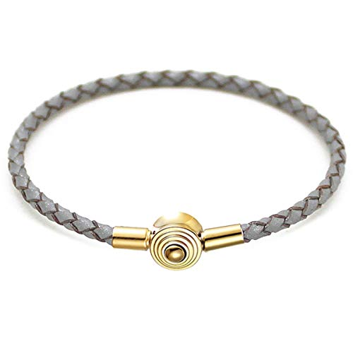 Armband Armreif, Schmuckgeschenk, DIY Real Leather Chain Stainless Steel Buckle Charms Bracelet Fit Europe Beads Charms Bracelet Jewelry Brown 39cm