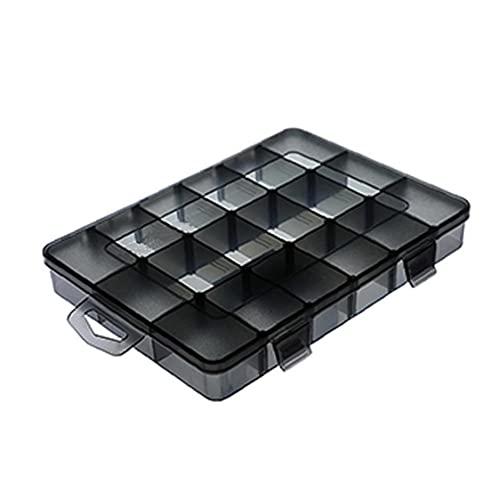 finebrand Plástico Joyas Caja De Almacenamiento Organizador del Envase De Plástico Apilable 18 Cuadrículas Compartimiento Contenedor con Divisores M