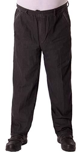 FASHION YOU WANT Herren Senioren Jeans Stretch Schlupfhose für Opas mit rundum Gummizug und Seitentaschen Schlupfjeans Gummizughosen (58 (4XL), Jeans schwarz)