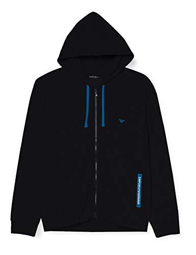 Emporio Armani Underwear Sweater Stretch Terry Sudadera con Capucha, Negro, L para Hombre