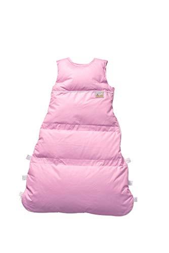 Set ARO Artländer Daunenschlafsack mit Stoffwindel von Kinderhaus Blaubär/Winterschlafsack längenverstellbar/Baby-Schlafsack mit Premiumdaunen, Größe:80 (70/60), Design:rose uni