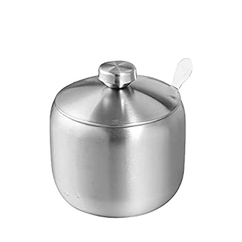 Sugar Bowl Stainless steel Sugar Container Sugar Pot Salt Sugar Can with Lid and Spoon  10 oz
