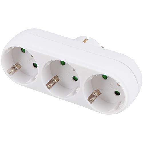 Garneck EU-Stecker Multifunktionssteckdose Flammhemmende Hochtemperaturbeständige Dreifachsteckdose Einfaches Weißes Netzteil (1)