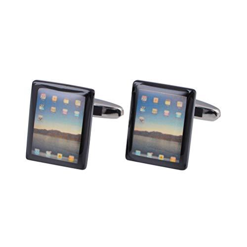 Icufflink Gemelos para Hombres, Novedad iPad Cobre Forma La Moda Francesa, Botones...
