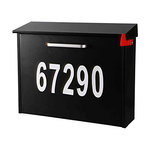 Wall Mount Locking Mailbox with Code Lock - Black Large Capacity with House Numbers Security Digital Password Lock Mailbox - Waterproof Iron Vertical Drop Mail Box Package Delivery Box Outdoor