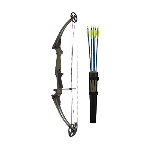 Genesis Archery Original Universal Multi Use Compound Target Practice Bow Kit with Arrows and Quiver, Left Handed, Ambush
