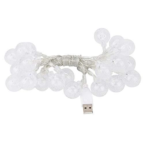 Cosiki Luz de Cadena de Bola de Burbujas LED Impermeable Blanca cálida, Cadena de luz, para Halloween, Navidad, Boda, balcón(Warm White)