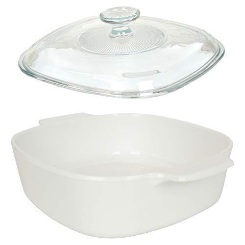 CorningWare (1) A-2-B-JW Just White Pyroceram Casserole Dish & (1) A9C Glass Lid