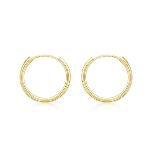 Carissima Gold Women's 9 ct Yellow Gold 1.5 mm Sleeper Hoop Earrings, 13 mm