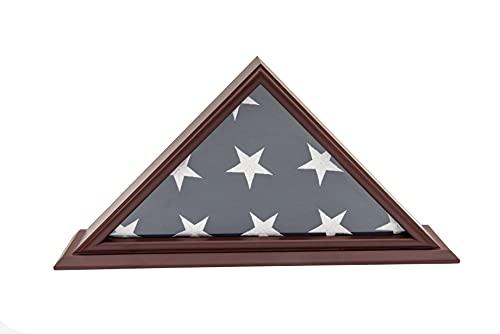 DECOMIL - 5 x 9 Beerdigungs-/Veteranen-Flagge, elegante Vitrine mit Sockel, Massivholz, Kirsch-Finish