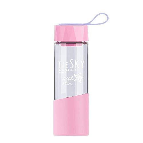 JIHUDAHG - Botella de Agua de Cristal de borosilicato (500 ml, con Funda Protectora de Silicona, antiquemaduras, sin BPA, Apta para Viajes, Escuela, Oficina, Gimnasio, Color Morado, 500 ml)