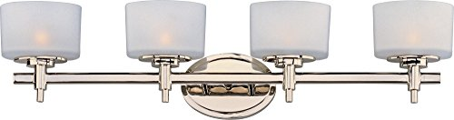 Maxim 9024SWPN Lola 4-Light Bath Vanity, Polished Nickel Finish, Satin White Glass, G9 Frost Xenon Xenon Bulb , 100W Max., Dry Safety Rating, 2700K Color Temp, Standard Dimmable, Glass Shade Material, 1150 Rated Lumens