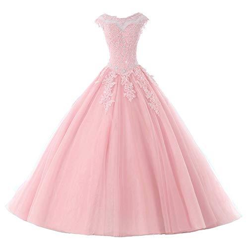 Ballkleider Lang Prinzessin Quinceanera Kleider Tülle Brautkleid Abendkleider A-Linie Partykleid Festkleider Rosa 54