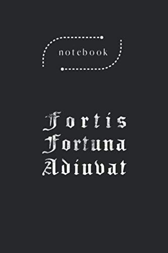 Notebook: Fortis Fortuna Adiuvat Latin Phrase Blank Content Black Cover Art Design Notebook Journal Gifts with College Lined for Men and Women Journal Size 6in - 9in - 125 Pages Write in Take Note