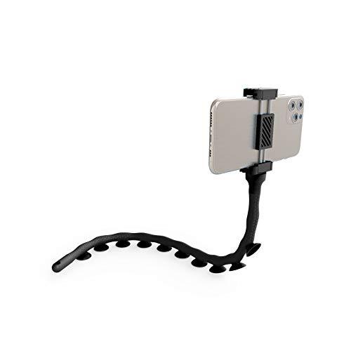 DigiPower Octopus Flexible Handyhalterung mit Saugnäpfen, 51cm universelle Smartphone-Halterung mit optimalem Halt auf glatten Oberflächen, schwarz, EU-DP-SCH-BK