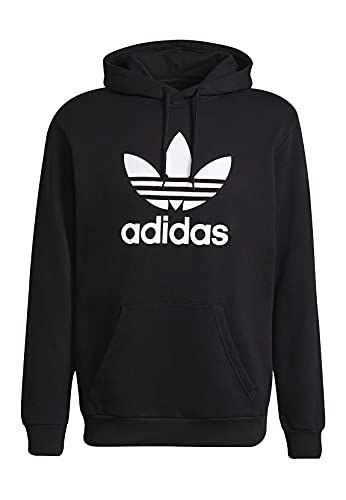 adidas Trefoil Hoody Sweatshirt, Mens, Black/White, S