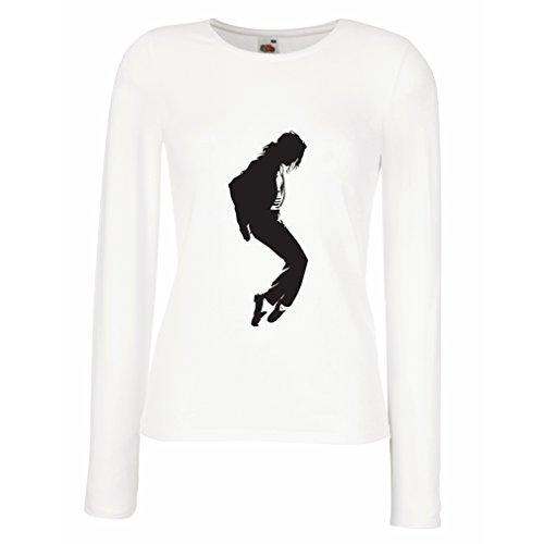 lepni.me Manches Longues Femme T-Shirt J'aime la Musique MJ - Roi de la Pop, Fan Art, vêtements de Club, Danseuse des années 1980 (Small Blanc Noir)