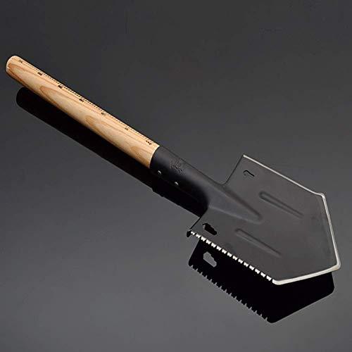 Yuany Gartenschaufel, Mehrzweckschaufel, Handwerkzeugschaufel Traditioneller Edelstahl-Randspaten mit Holzgriff Schwarz Tragbarer kompakter taktischer Spaten