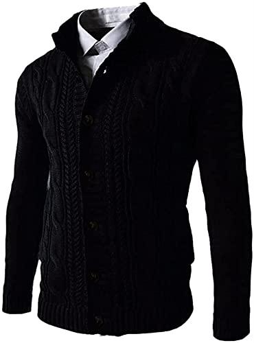 CrumblePie Color sólido Cardigan Suéter Hombres Otoño Invierno Chaquetas de punto Capa Stand Collar, Negro, X-Large