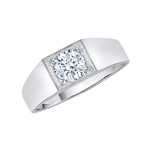 KATARINA Anillo solitario de diamante para hombre en oro de 14 quilates (1 quilate, J-K, SI2-I1)