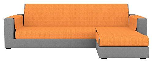 Eiffel Textile París Chaise Longue Cubre sofá Brazo Derecho, Algodón, Naranja, 240 x 195 x 2 cm