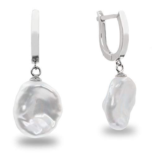 Damen Perlen ohrringe Süßwasser zuchtperlen - große Keshi Barock Perlen 12,00-13,00 mm von Secret & You - Hochwertiges rhodiniertes 925er Sterling Silber