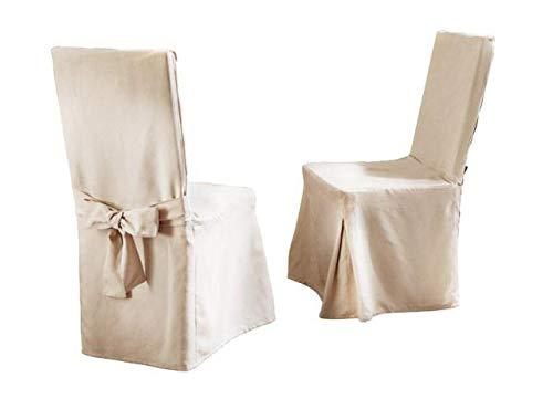 Hochwertige Stuhlhusse in Wildleder - Optik, Cremeweiss, mit dekorativer Schleife