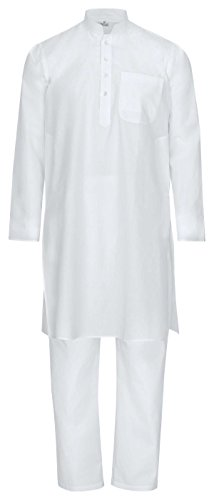 Maharanis Maharanis Fairtrade traditioneller Kurta Pajama, Yoga, Massage, Wellnessanzug aus feiner Baumwolle in weiß M