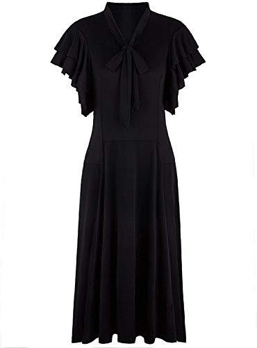 VIJIV Women's Vintage 1920s Black Midi Flapper Dress V Neck Cut Sleeveless with Flutter Sleeves Bowknot Roaring 20s Great Gatsby Dresses Black, Large