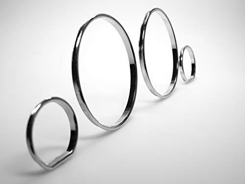 LETRONIX Chrom Tachoringe Tacho Ringe zum Clipsen geeignet für Fahrzeug E32 E34 5er Reihe